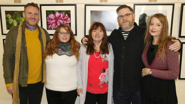 Exhibitor Colleen McEvoy (centre), who was celebrating her 70th birthday on the day, pictured with members of her family: Darren Sherry, Laura Sherry, Colleen McEvoy, Jamie Sherry and Jean Sherry