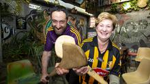 Ciarán and Betty Moran of the Theatre Tavern in New Ross showing some friendly rivalry ahead of the big match