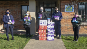 Members of the Cois Barry Community House in Rosslare did an Easter Egg drop to the local houses: (from left), Emily O'Rourke from Wexford Local Development, Maxine Murphy, David Clancy, Garda John Coughlan and Mary Harmon
