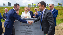 An Taoiseach Leo Varadkar with Cllr. Michael Sheehan, Cathaoirleach , Wexford County Council, after the unveiling of the plaque