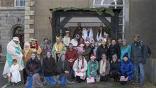 Participants and helpers at the live crib in the Franciscan Friary