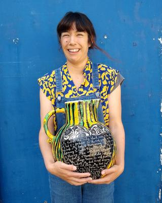 Artist Vicky Lindo with her 'Dad' ceramic jug