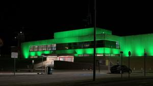 Rosslare Europort lit up green for St Patrick's Day