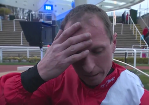 Jamie Codd giving an emotional interview after his Cheltenham win