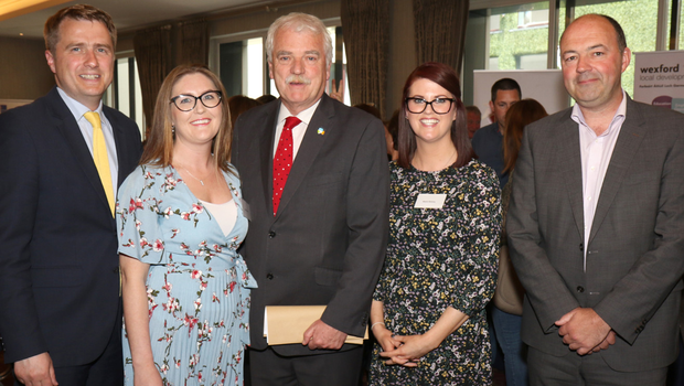 James Browne TD, Sarah Bolger (WLD), Minister Finian McGrath, Maria Mulvey (WLD) and Brian Kehoe (WLD) at the Ability Programme (2018-2021) launch in the Riverside Park Hotel, Enniscorthy