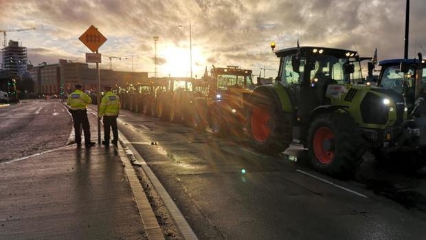 Some of the tractors from Wexford at the demonstration