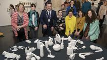 At the exhibit, Unknown Treasures, by 5th and 6th class pupils of Scoil Náisiúnta Rath An Lubhair in Rathnure were: Elizabeth Whyte, Catherine Bowe, Cllr George Lawlor, Deputy Mayor, Lisa Byrne, Els Dietvorst, who opened the exhibition, Orla Bates,facilitating artist, and Clare Breen
