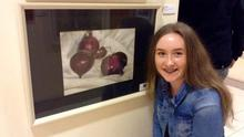 Ellie Jevens with her piece 'Red Onions'.