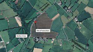 A map showing the location of the disused house where the execution took place