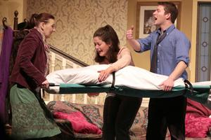 Sally Chessington (Mary O'Connor), Brenda Dixon (Sinead Kehoe) and Eric Swan (Brian Sheridan) in Bridge Drama's production of 'Cash On Delivery' by Michael Cooney.