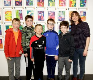 At the opening of Living Arts Project Exhibition in Wexford Art Centre on Saturday afternoon. Matthew Howlett, Stephen Power, Gearóid Howlett, John Power, Philip Corish and Orla Bates (Arts Teacher) Horeswood National School