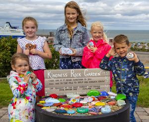 At the Kindness Rock Garden overlooking Rosslare Europort, from left: Kate Moulton, Eithne Lee, Ava Carroll, Sophie Carroll and Joey Moulton