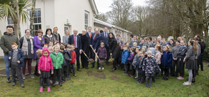 Minister Paul Kehoe, Fr James Murphy PP and Anne Marie Carthy, school principal, turned the sod on Scoil Mhuire Rosslare's new extension