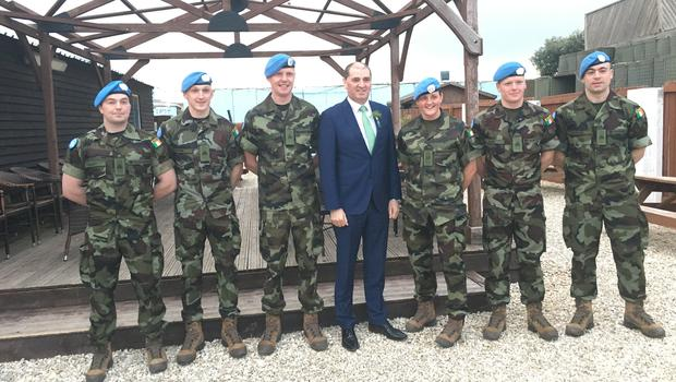 Minister Paul Kehoe in South Lebanon with (from left) Private Liam Sinnott , Private Aidan Byrne, Private Conor Fitzhenry, Corporal Shelley Kehoe, Private Ryan Mann and Trooper Gary Turner.