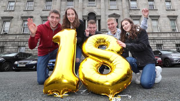 The Cassidy siblings, Conor (left) Amy, Cian, Rory and Derbhail, Ireland's only quintuplets, return to the Rotunda Maternity Hosptal in Dublin to mark their 18th birthday