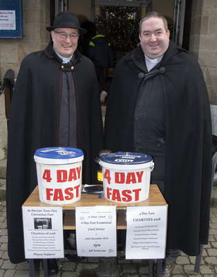Rev Arthur Minion and Fr Aodhán Marken taking part in the fast outside St. Iberius Church on Wexford's North Main Street last year