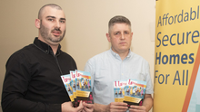 Organisers Gary O'Brien and Brian Leeson at the Up Housing meeting in Coolcotts Community Centre