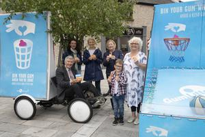 At the Bin Your Gum campaign launch in Wexford's Selskar Square (from left): Mayor of Wexford Tony Dempsey, Cliona Connolly, Caroline Sinnott, Mary Bowe, Brandon Hillis and Phil Murphy