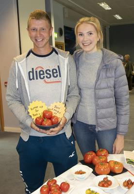 Dylan Ryan who was runner-up 'Best in Show' for his tomatoes, pictured with Jessica Buckley