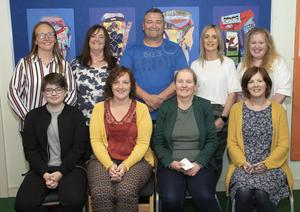 The artists, pictured at the WWETB Parents Arts exhibition in Kennedy Park NS (from left) back, Claire Molloy, Lynda Lawler, Davy Byrne, Eva Morris and Jennifer McGuire; front, Jordan Byrne, Kelly Bates, Marie Claire O'Brien (facilitating artist) and Valerie Roche