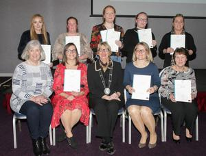 CTEC graduates receiving QQI Component awards in Business, Childcare and Healthcare, pictured with Madeleine Quirke, CTEC Board of Management and Deputy Mayor Maura Bell