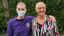 Rosemary and Cate following their head shave