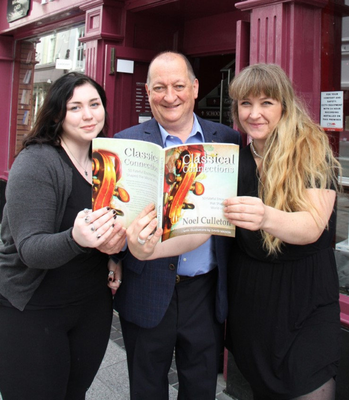Author Noel Culleton with Erin Wilson and Josie Van Emden outside the Book Centre on Wexford's South Main Street