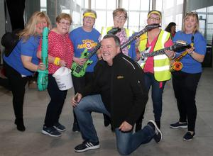 DJ Phil Cawley with (from left) Sue Kent, Diane Roche, Patricia Ryan, Catherine White, Esther Laney and Aine Roche