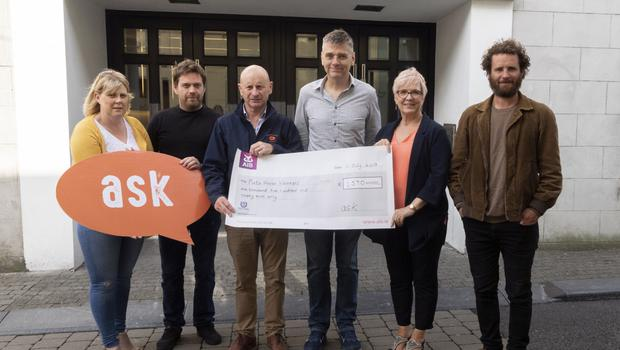 Organisers and participants in the ASK Christmas Concert in the National Opera House present a cheque of €1590.00 to Pieta House (from left): Sharon Pettit, Ian Doyle, Cllr Frank Staples, Liam Bates, Pauline Lawlor (Pieta House) and Leo Staples