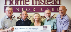 Stephen Conway, managing director, Home Instead; Michael Coffey; Saoirse Kelly, home care coordinator, Alzheimer Society Wexford; Morris Brosnan; and Fintan Duggan, Home Instead