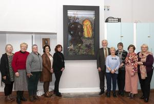 At the unveiling (from left): Pat Dunne, Patricia Bates, Mairead Devereux, Mary White, Marie Moore, Cllr Jim Moore, Kathleen Tierney (tutor), Gina Murphy (designer), Grainne Dullard and Eleanor Kelly