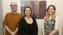 Emma Howe, centre, with visual arts assistant Larry Dunne and visual arts manager Lisa Byrne
