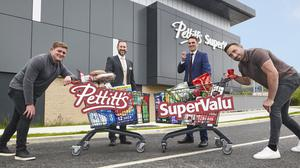 Rugby stars Tadhg Furlong and Jack Conan join Bray store manager Dan Hegarty and owner Cormac Pettitt at the new €4m Pettitt's SuperValu store in Bray ahead of its opening on Thursday (10th). Photos: Joanne Grant