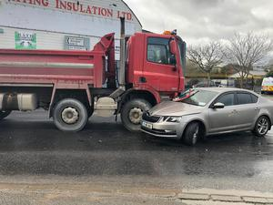 The scene after a car and a truck collided at a junction in Castlebridge on Wednesday