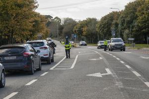 A Garda Covid-19 checkpoint on the Drinagh Road outside Wexford on Sunday afternoon