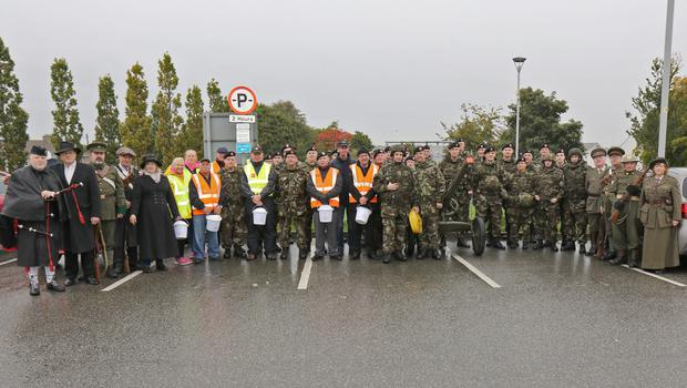 RDF personnel and collectors pictured before the start of the artillery gun pull from Enniscorthy to Wexford