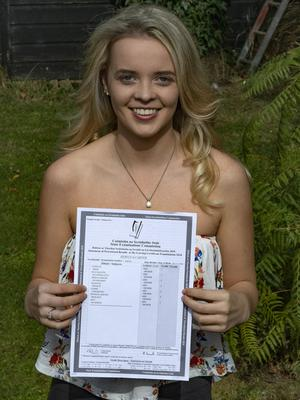 Rebecca with her revised Leaving Cert results.