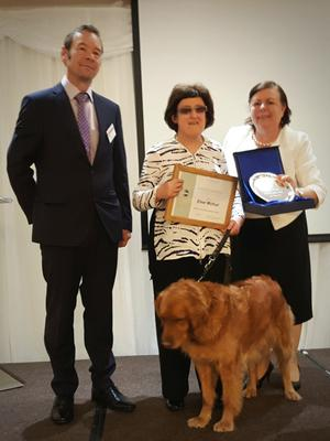 Michael Maunsell (Contest Chair), Emer Mulhall and Trudy her guide dog and Jane Mooney (Division D Director).