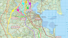 The routes being considered for the proposed Oylegate to Rosslare scheme