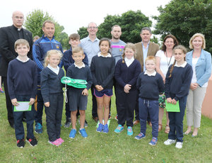 Fr. James Murphy PP, J.J. Doyle (guest), Damien Pitt (teacher), Mark Fanning (guest), Cllr. Ger Carty, Cliona Connolly (Wexford Co. Council), Fiona Whelan (principal) and the Green School committee at St. Mary's National School, Tagoat