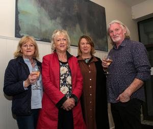 Anne Joy, Catherine Jordan, Elizabeth Whyte (who opened the exhibition) and Paddy Lennon at the opening of Paddy's exhibition in Westgate Design