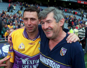 Flashback to August 12, 2001: Tony Dempsey, Wexford manager, with Larry O'Gorman at the end of the drawn Wexford v Tipperary All-Ireland semi-final at Croke Park