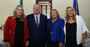 Brian with his wife Noreen and daughters Sarah and Lisa at his retirement function at Mountjoy Prison