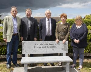 At the unveiling of the bench at Castlebridge NS: Ken Quinlivan, Fr Denis Kelly PP, Ed Lyons, school principal, Maura Quinlivan (Fr Walter's sister), who performed the unveiling, and Tracey O'Connor of the school's parents' association