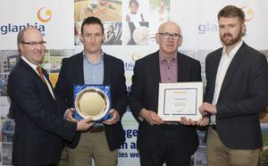 Seed Wheat winner Padraig Kehoe, The Ballagh, Enniscorthy, (2nd left) pictured with Sean Molloy, chief agribusiness growth officer; Pat Murphy, Glanbia vice-chairman and business manager Tom Hession at the Glanbia Grain awards. Picture: Alf Harvey