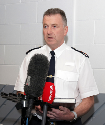 Superintendent Jim Doyle gives an update during a press conference in Rosslare