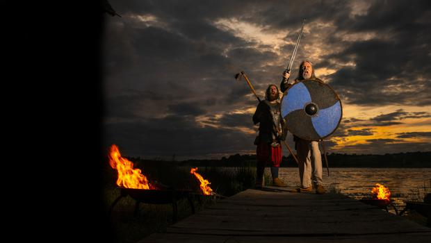 Vikings John Cox and Gavan Murphy at the National Heritage Park for the launch of the inaugural Viking Fire Festival, which takes place in Wexford town on Saturday September 28. Events taking place are available free of charge to visitors.