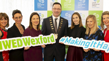 Angela Lawless, LEO Wexford; Emer Doyle, Charoula Kalonia, Dental Tech; Liz Hore, Head of LEO Wexford; Cllr Michael Sheehan, cathaoirleach, Wexford County Council; Dr Ciara Clancy, Beats Medical; Aine Breen, Liwu Jewellery; Mary Walsh, Ire Wel Pallets and Breege Cosgrave, LEO Wexford
