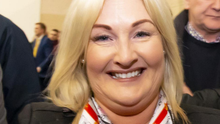 Thumbs-up from a delighted Verona Murphy at the count centre on Monday