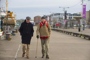 Local men John Mullins and Michael Phelan walking along the quays in Wexford town. Photo: Patrick Browne